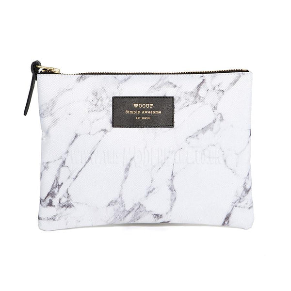 Pencil Case . Pouch .  Large / Marble White