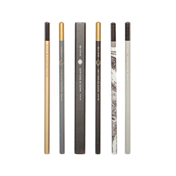 Pencil Set of 6 . Assorted / Black