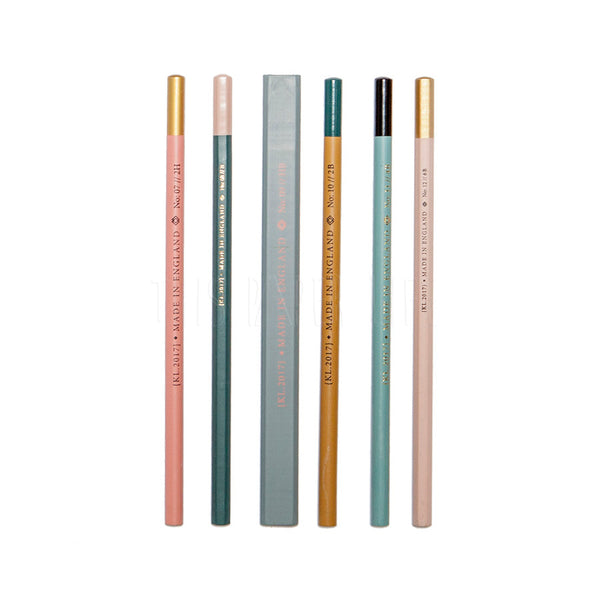 Pencil Set of 6 . Assorted / Muted Tones