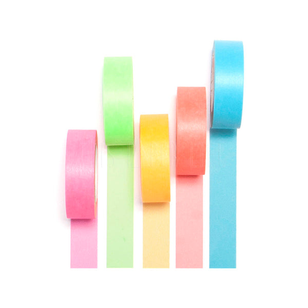 Washi Tape . Set of 5 / Gift Box Neon