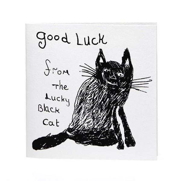 Card . Good Luck Lucky Black Cat