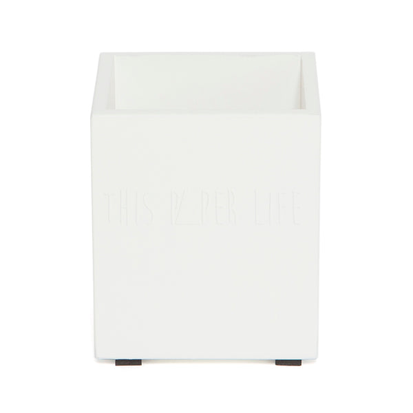 Pen Holder / Cup . Rectangular . White
