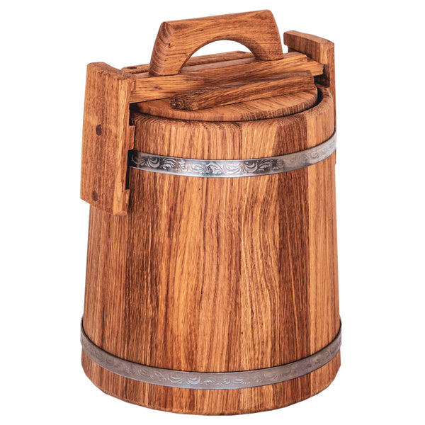 Wooden Bucket for Pickles and Sauerkraut, Wood Crock for Fermentation