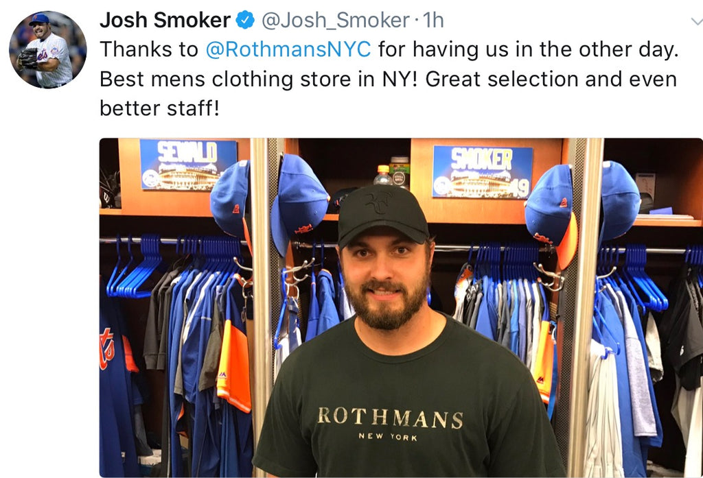Many thanks to Josh Smoker of the NY Mets for the kind words about Rothmans (and for wearing our t shirt!)
