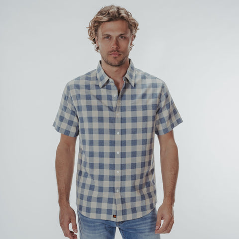 Jasper Short Sleeve Button Down Shirt Blue Check