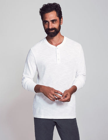 White Slub Cotton Henley