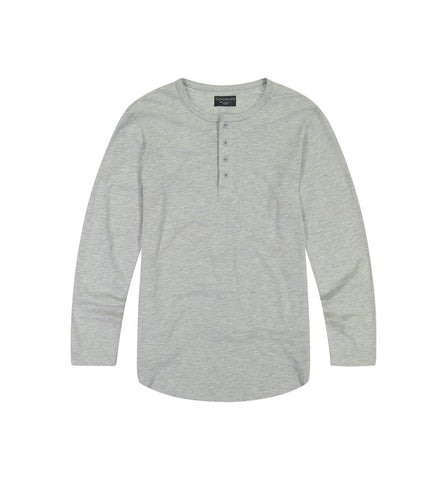 Long Sleeve Slub Scallop Henley Heather Grey