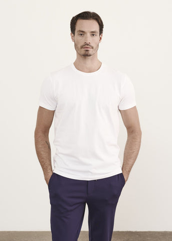 Iconic Pima Cotton Stretch Crew T-Shirt White