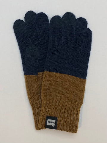 2TON Evolg Gloves Knit Unisex One Size Navy x Curry Yellow