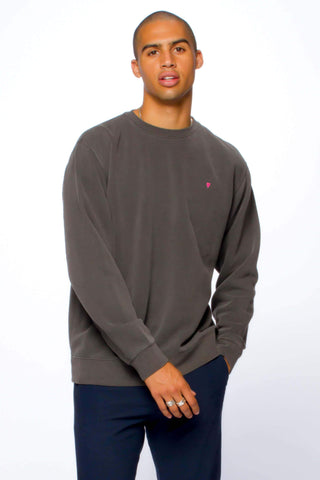 HEART EMB MENS SWEATSHIRT Pigment Black