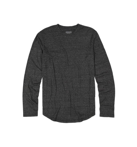 Tri-Blend Long Sleeve Scallop Crew Black