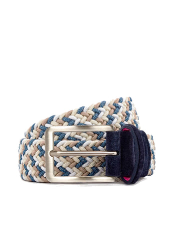 Chaos Navy Blue Cream Rayon Belt