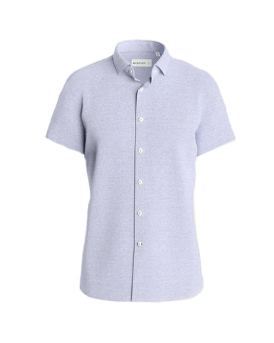 Short Sleeve Knit Stretch Shirt - Slim Fit Lt. Blue