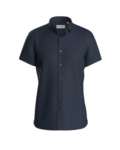 Short Sleeve Knit Stretch Shirt - Slim Fit Navy