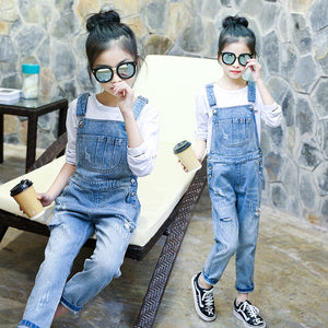 Denim Jumpsuit For Girls Ripped Jeans For Kids Teens Teenagers Baby Overalls Rompers 4 8 6 7 8 9 10 11 12 13 Years School Pant - Little Ones Boutique