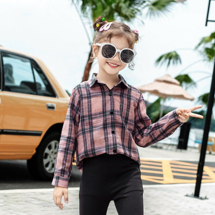 New Fashion Autumn 2019 Kids Pink Plaid Blouses Tops For Baby Teens Girls Cotton Long Sleeve Shirts Children School Clothing - Little Ones Boutique