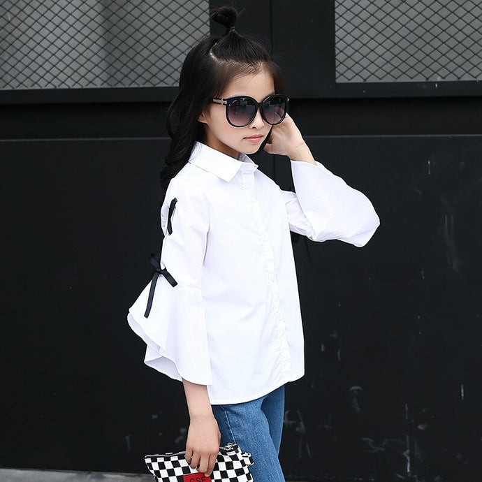 White School Girls Flare Sleeves Blouse Teen Children Clothing Autumn Long Sleeve Baby Girls Casual Child Kids Shirt - Little Ones Boutique