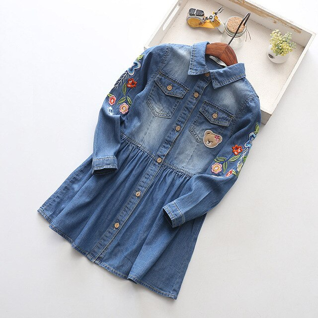 Embroidered Denim Dress with Floral embellishments - Little Ones Boutique