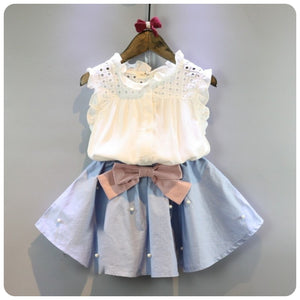 Awesome two piece Sleeveless Top and Pleated Skirt - Little Ones Boutique