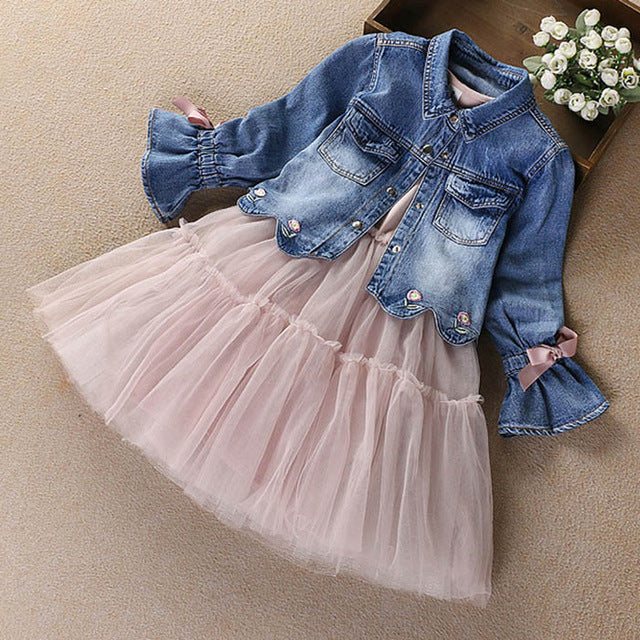 The Tilly Tutu Dress W/Denim Jacket - Little Ones Boutique