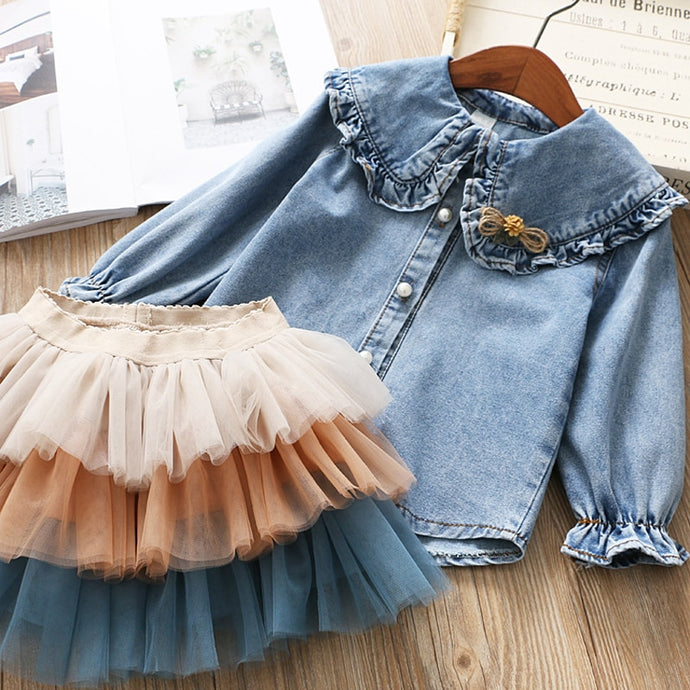 Denim Top with Three Layers Tulle skirt - Little Ones Boutique