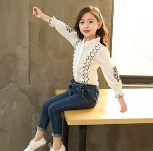 Kids Clothing Set 2019 Spring Autumn Teen Girls Embroidered Lace Blouse+Jeans 2Pcs Tracksuit Children School Girls Clothes Sets - Little Ones Boutique