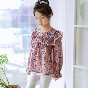 Printed school little girl blouse big girl long sleeve shirts blouse kids clothes flower pattern blouse girl teen spring clothes - Little Ones Boutique