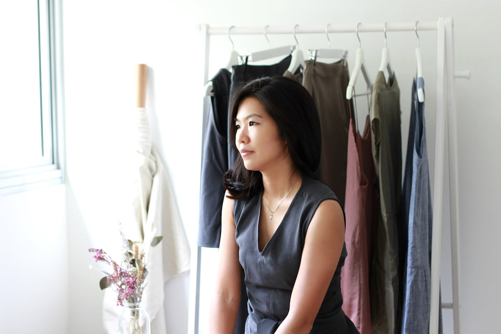 Designer Alicia Tsi, founder of sustainable fashion label Esse, in her home studio in Singapore