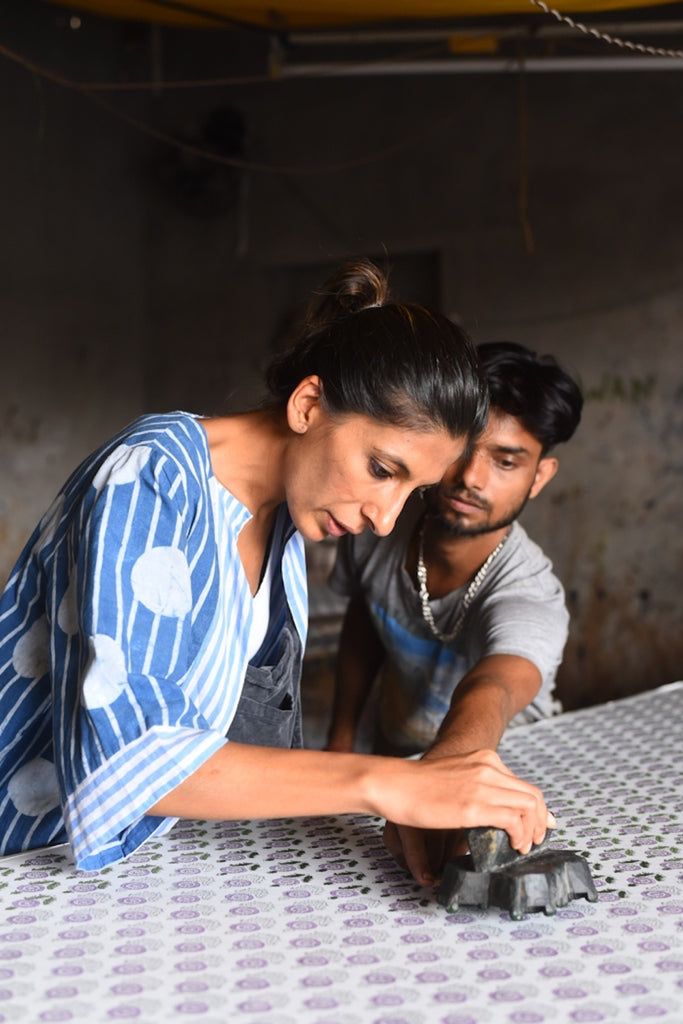 Rakee Shah of sustainable fashion brand Maisha Concept block printing in Jaipur