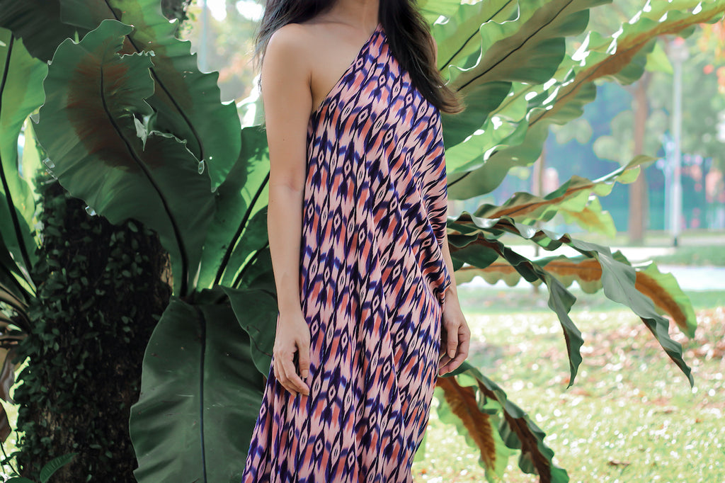 Michelle Chia wears the limited edition Michelle dress, sold exclusively on conscious online store ZERRIN