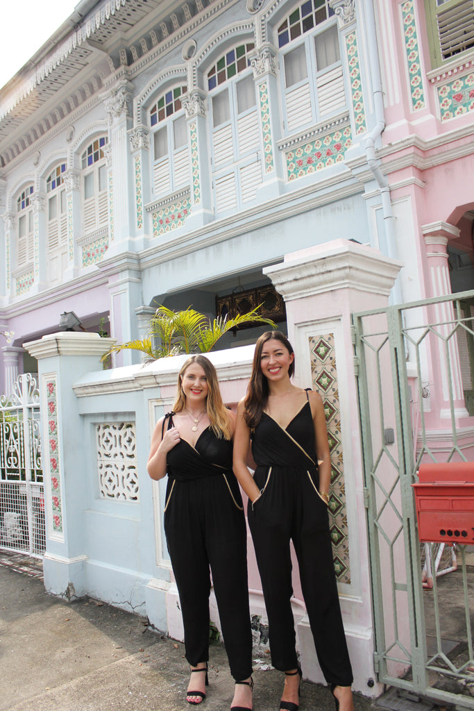 Sophie and Lizzy from The Eco Expats blog styles the Aanya black jumpsuit from sustainable fashion online store ZERRIN on Koon Seng Road in Singapore