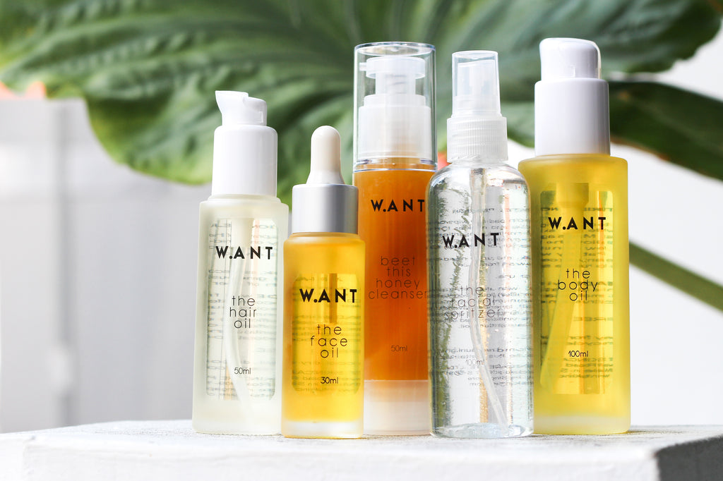 A selection of natural skincare by ethical beauty brand WANT