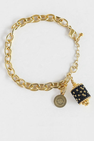 Eden & Elie Everyday Charm Bracelet in Black Gold Dots