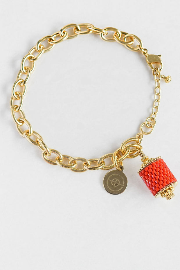 Eden & Elie Everyday Charm Bracelet in Coral