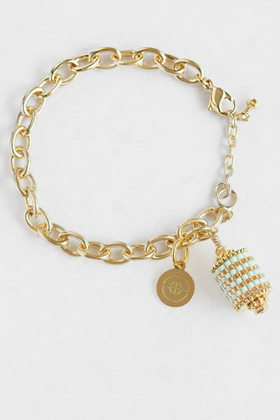 Eden & Elie Everyday Charm Bracelet in Mint Gold Stripe