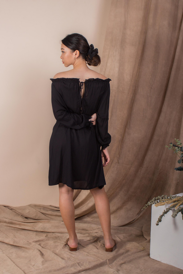 Whispers & Anarchy Cold Shoulder Kaftan in Jet Black