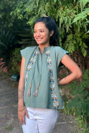 Wray Crafted Kora Top in Fern, available on ZERRIN