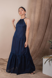 Whispers & Anarchy Halter Maxi Dress in Navy, available on ZERRIN