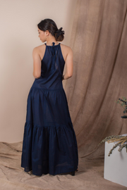 Back view of Whispers & Anarchy Halter Maxi Dress in Navy, available on ZERRIN