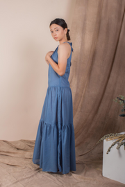 Whispers & Anarchy Halter Maxi Dress in Indigo
