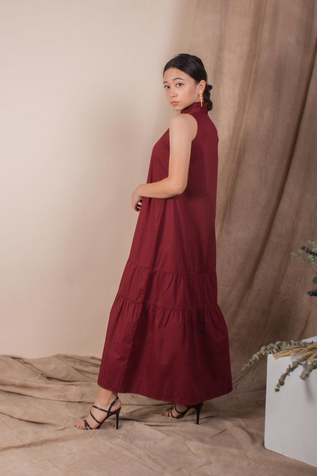 Whispers & Anarchy Trapeze Midi Dress in Blood Red