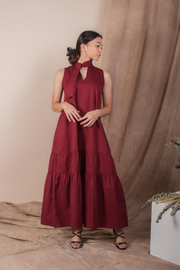 Front view of Whispers & Anarchy Trapeze Midi Dress in Blood Red