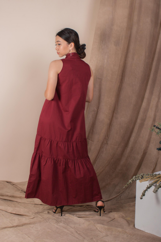 Back view of Whispers & Anarchy Trapeze Midi Dress in Blood Red
