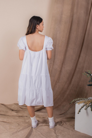 Whispers & Anarchy Puffed Sleeve Tier Dress in White
