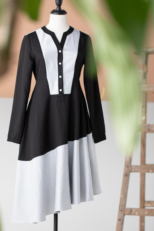 Tove & Libra Swing Shirt Dress in Black Stripe