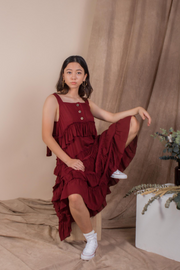 Whispers & Anarchy Ruffles Maxi Dress in Blood Red