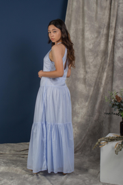 Whispers & Anarchy Halter Maxi Dress in Blue Ice Melt