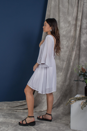 Side view of Whispers & Anarchy Exposed Back Bell Sleeve Dress in White, available on ZERRIN