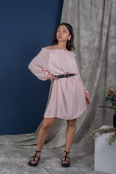 Whispers & Anarchy Cold Shoulder Kaftan in Powder Pink