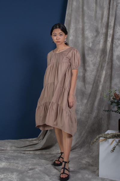 Whispers & Anarchy Puffed Sleeve Tier Dress in Tan